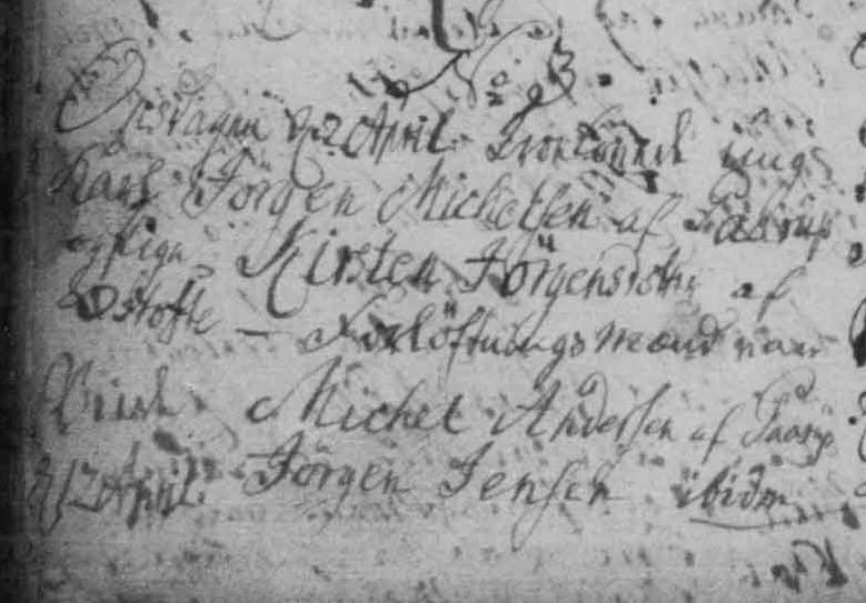 Engagement and marriage record from 1783