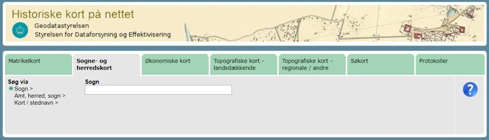 Screenshot from the Danish Website with Historic Parish Maps