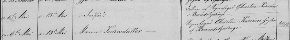 Maren Pedersdattter and stillborn daughter: Death 1864 in Brahetrolleborg